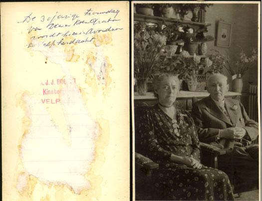 Koenraad Wolter Freseman Gratama,geb Hoogeveen 15-03-1872 met zijn vrouw Heildina Dechina ten Oever.