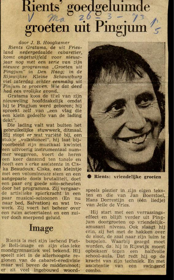 Rients' goedgeluimde groeten uit Pinjum-Krantenartikel 26-3-73.